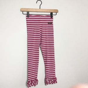 Matilda Jane Pink / White Stripe Ruffle Leggings